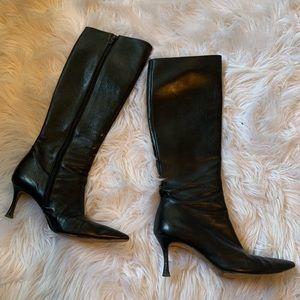 Manolo Blahnik black leather boots